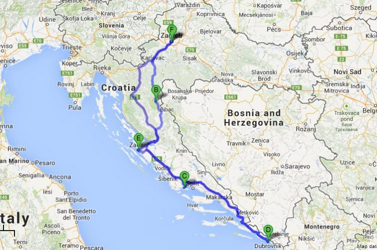 Croatia Road Trip Route