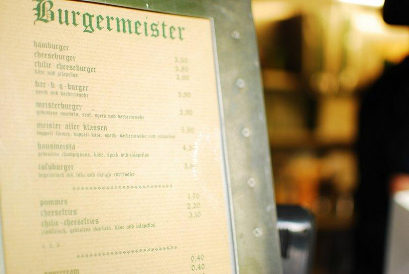 Berlin: Best Cheap Eats - Burgermeister Menu