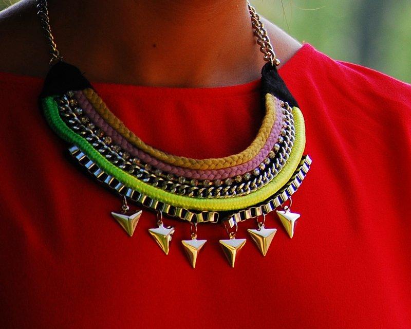 Red zara dress collar necklace