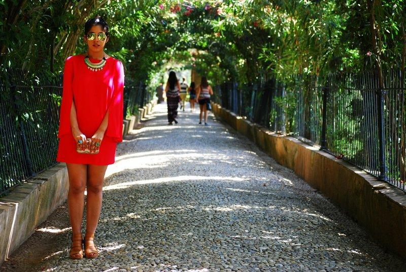 Red zara dress fall fashion