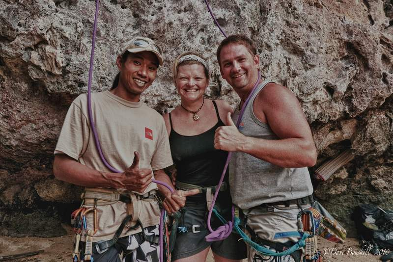 Dave and Deb rock climbing in Railay