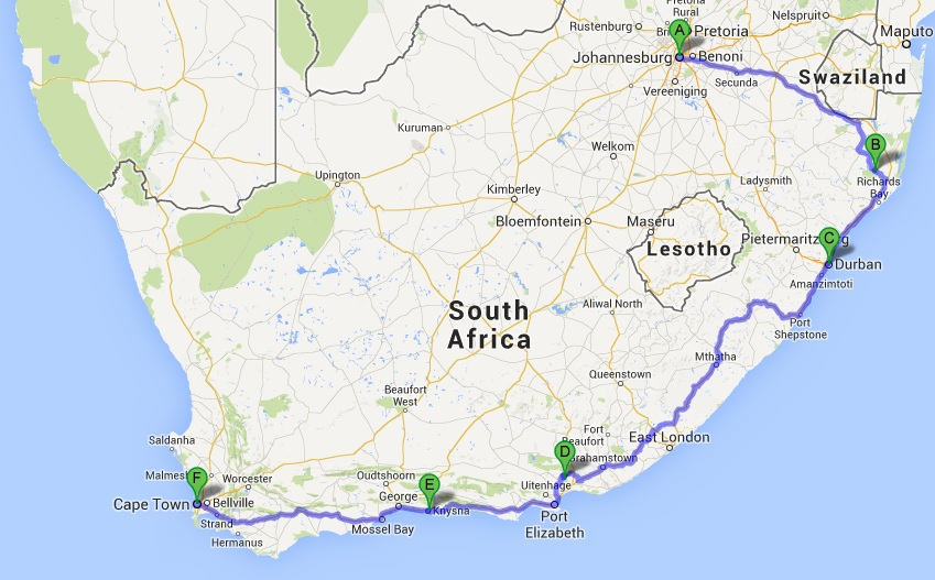 South Africa Road Trip Map