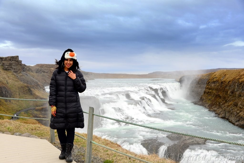 Stopping at Gulfoss waterfall when driving around Iceland