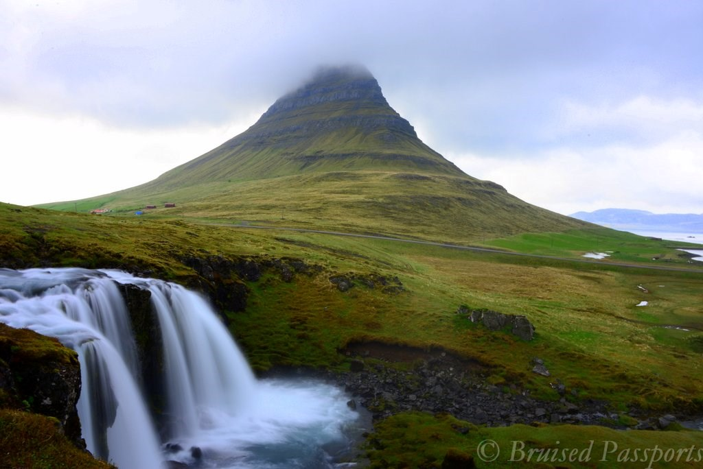 Tiny waterfall in front of Mt. Kirkjufell in Iceland