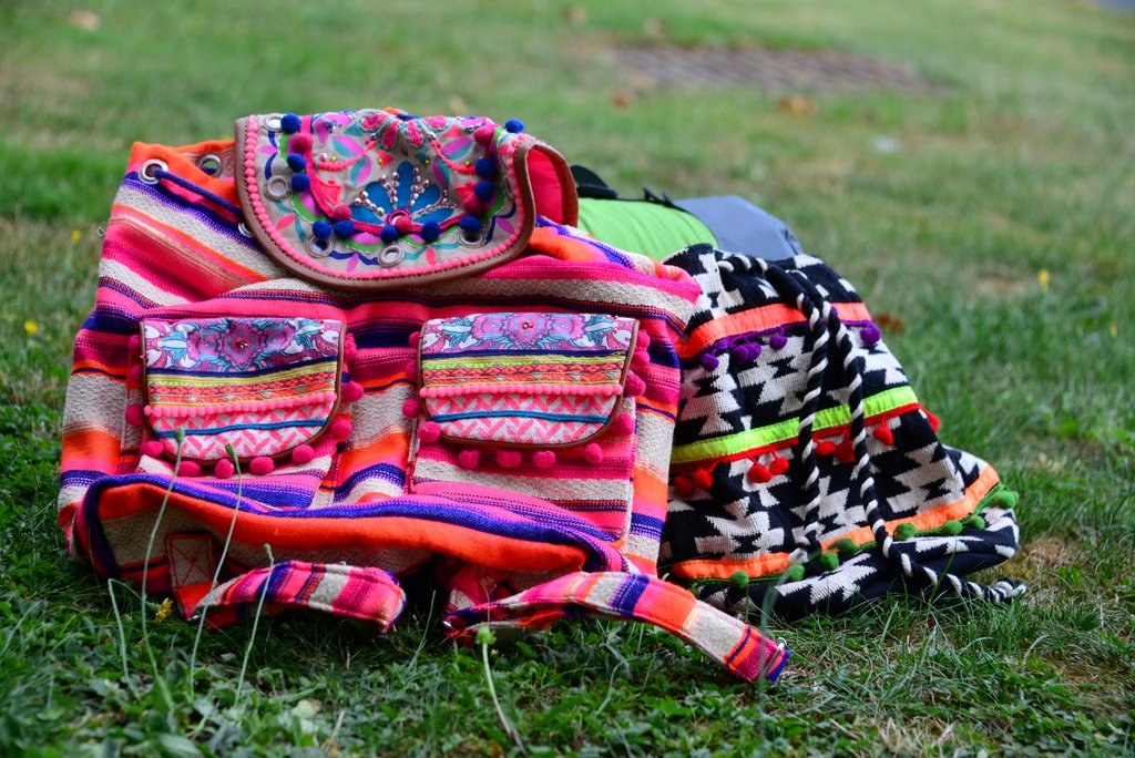festival fashion pom pom backpack