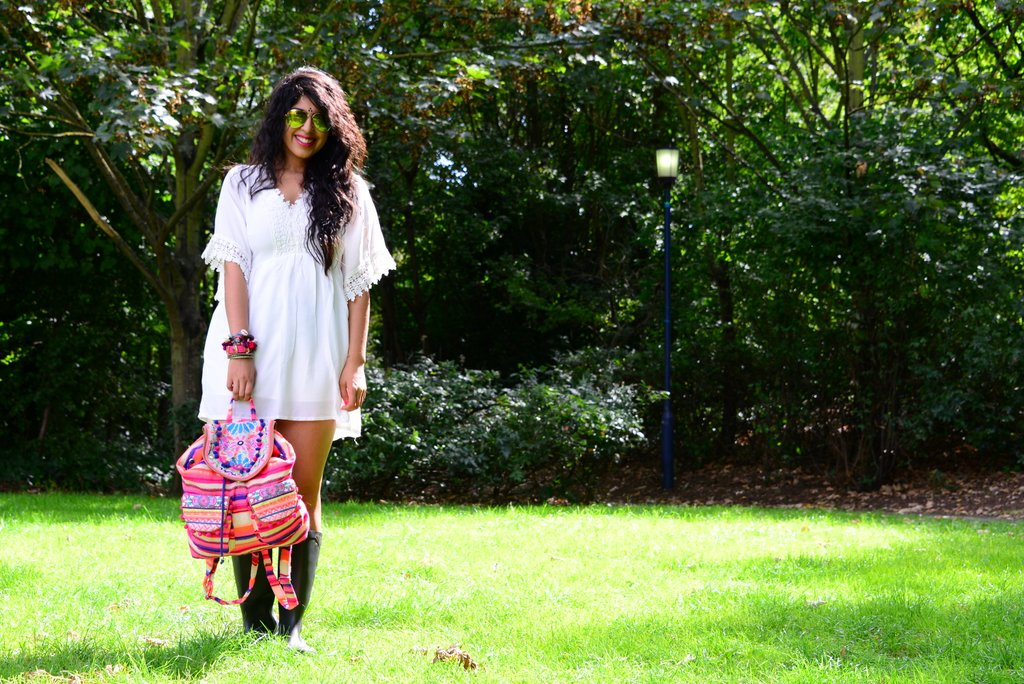 festival fashion white dress pom pom backpack