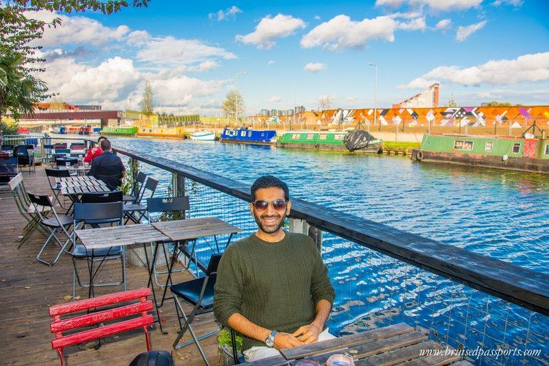 The café faces a peaceful canal - yay!