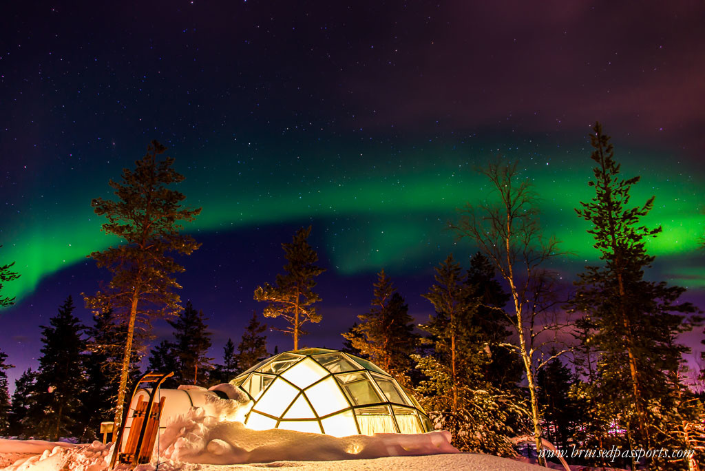 Northern Lights over our igloo at Kakslauttanen Arctic Resort
