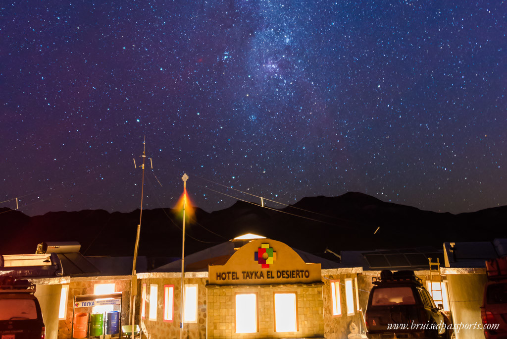 Milky way over hotel tayka del desierto in Bolivia