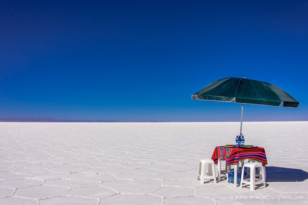 Lunch table in the middle of Salar De Uyuni Bolivia