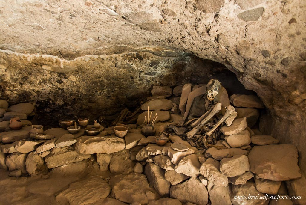 ancient cave with skeletons in Bolivia