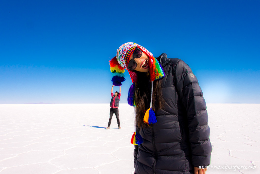 Playing around at the largest salt desert in the world - Salar De Uyuni,Bolivia