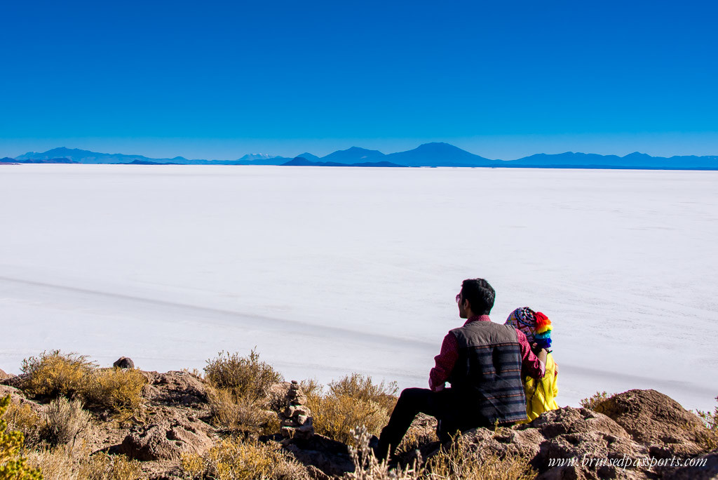 Panoramic view of Salar De Uyuni from Incahuasi