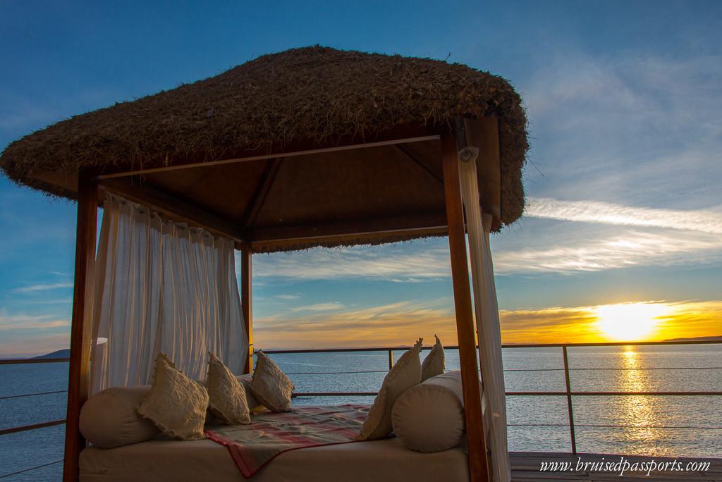 Lake Titicaca hotel titilaka sunset