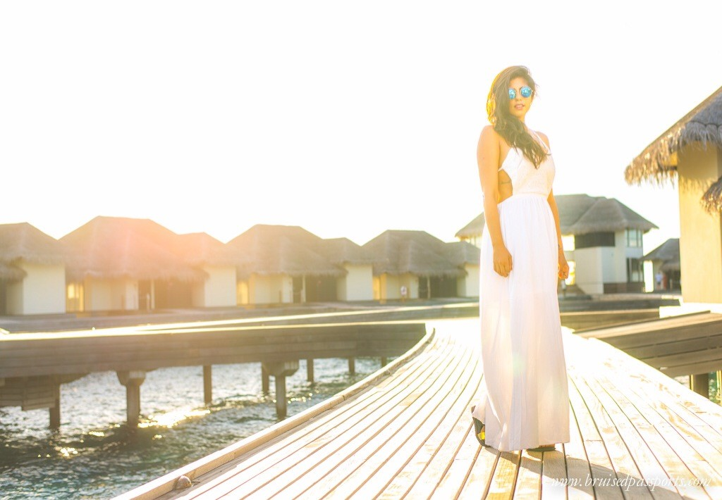 White maxi dress Travel fashion in Maldives