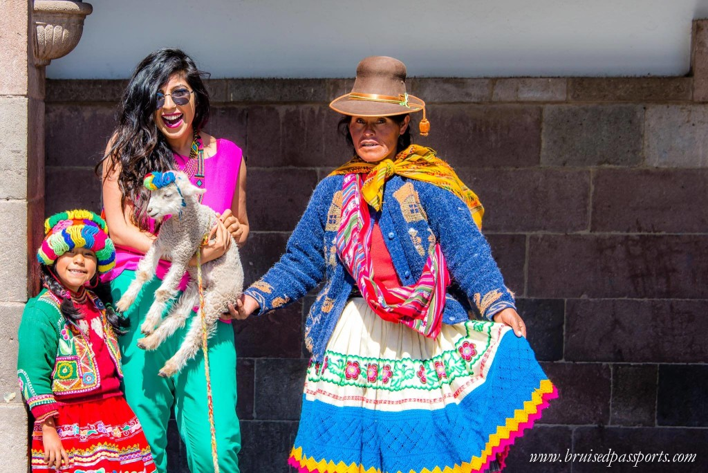 colorful bohemian travel fashion outfit in cusco peru