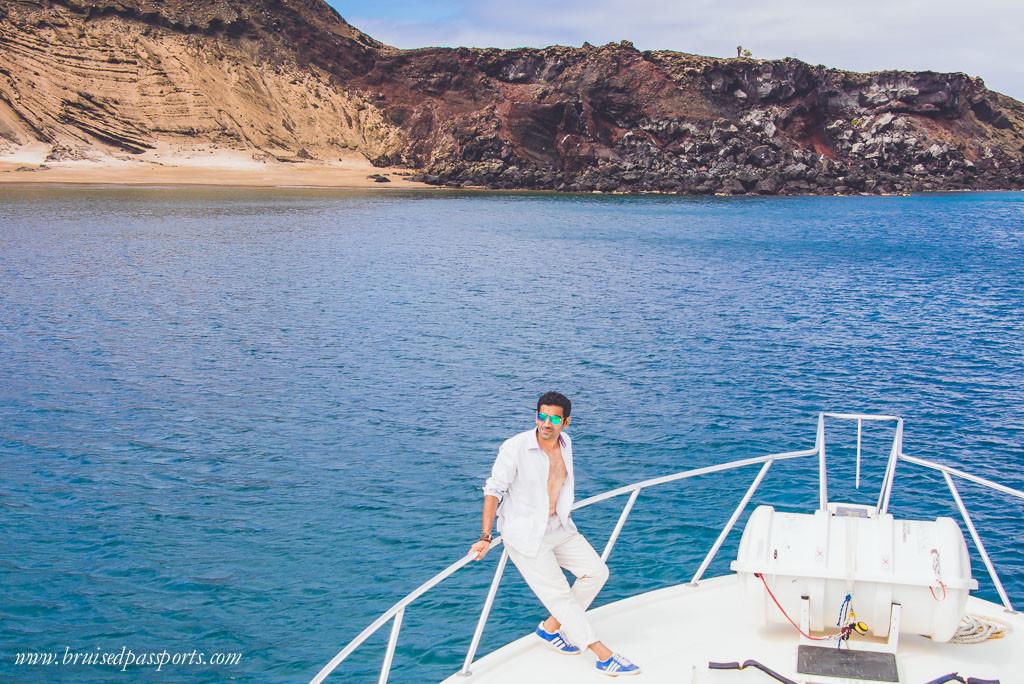 Yacht at Bartolomé island Galapagos