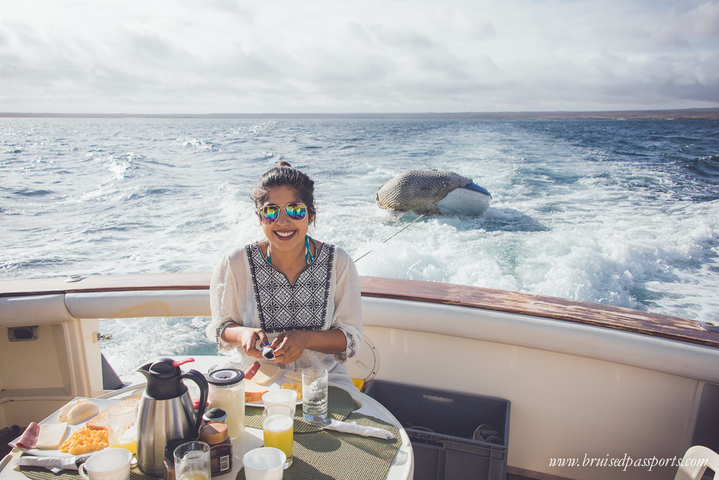 Breakfast on Altamara boat Galapagos Alternative Bartolome day trip