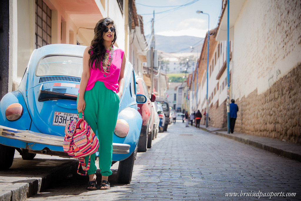 Bright outfit in Cusco Peru travel fashion