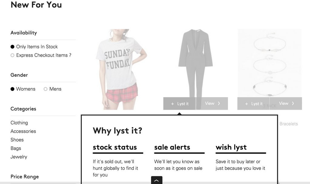 Signing up to Lyst