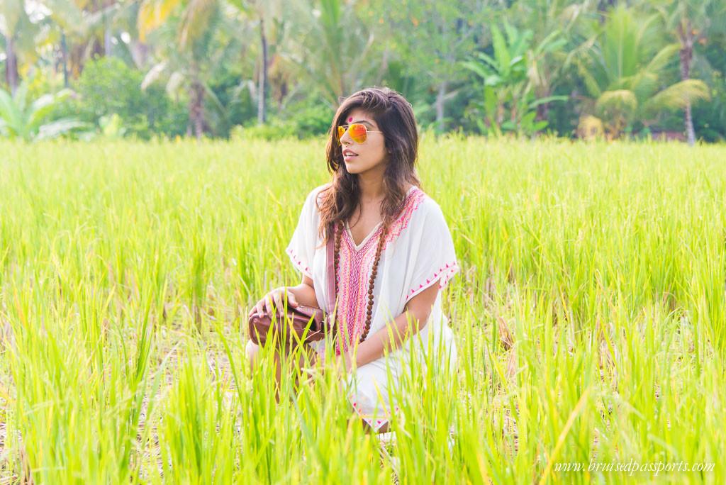Walk through paddy fields to reach Sari Organic