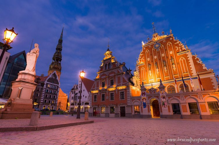 Riga old town at night