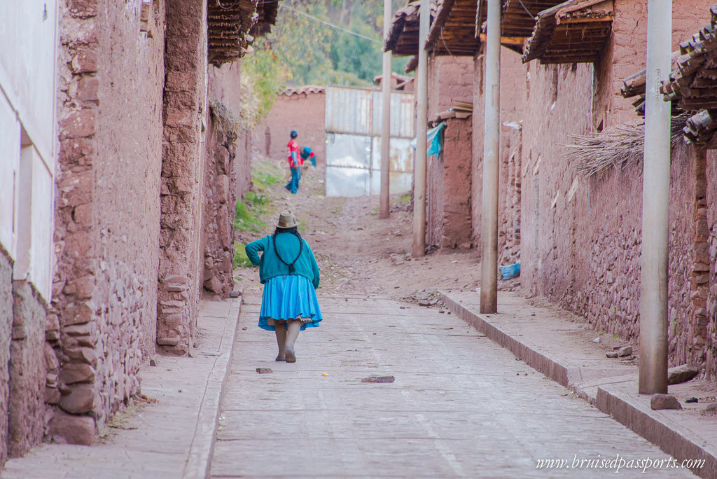 Incan lady in Peruvian village