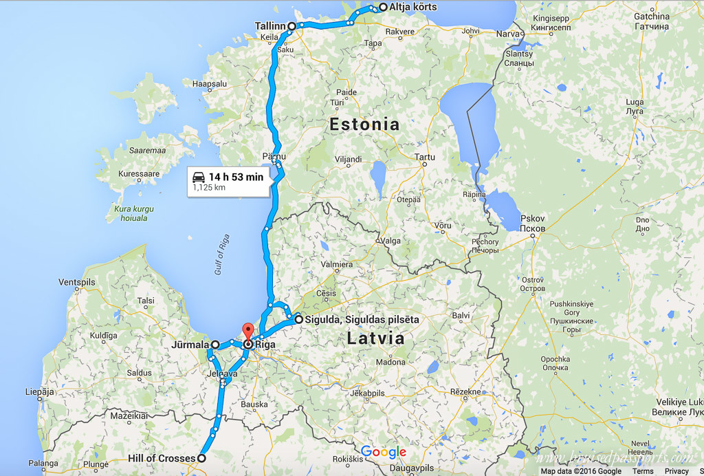 Map for road trip in Baltic countries
