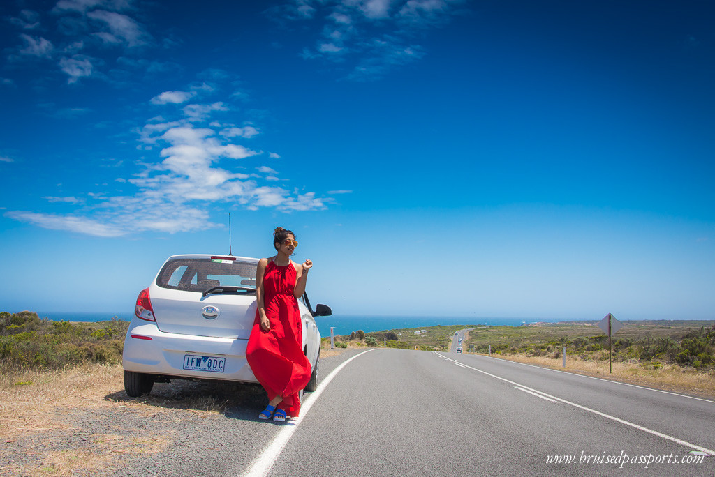 Australia road trip car with girl