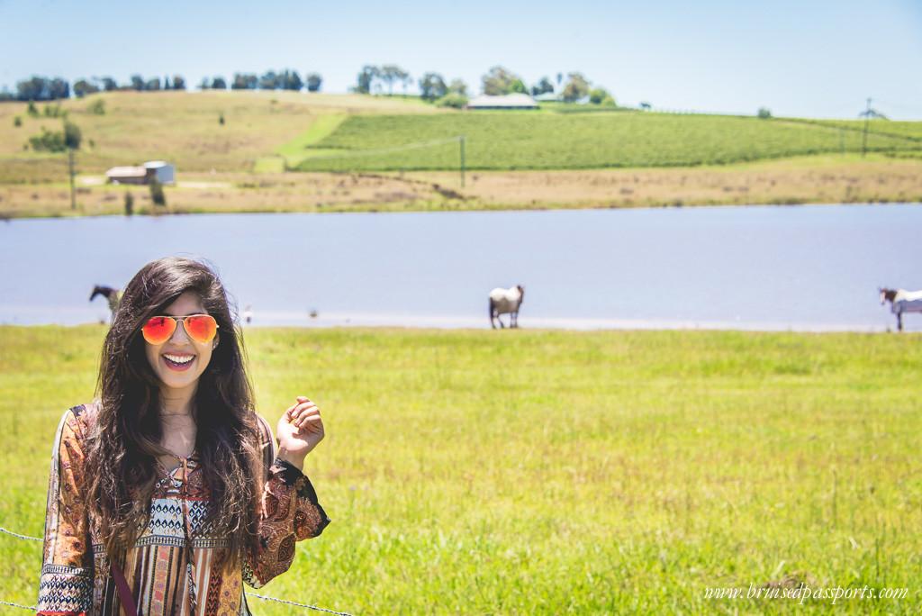 Australia Road Trip girl sampling wine in hunter valley