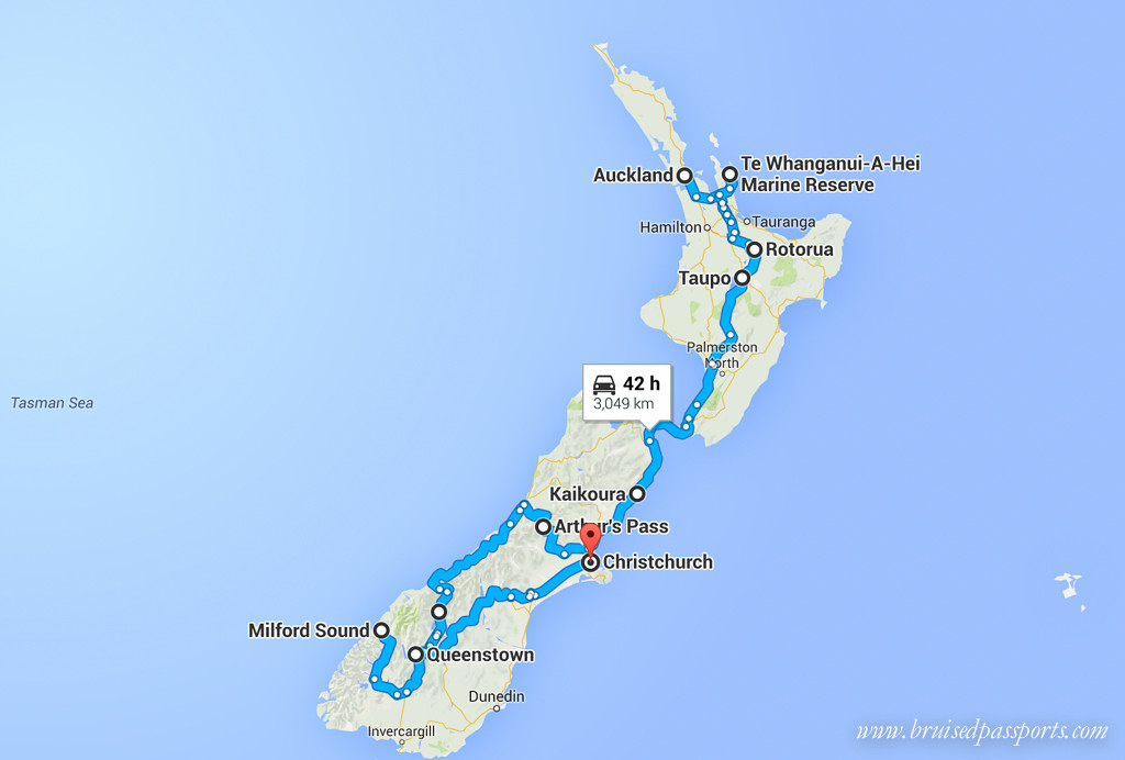 New Zealand road trip itinerary map