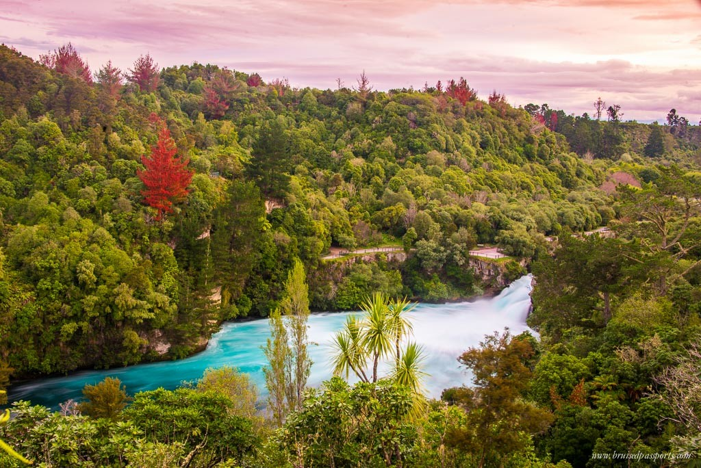 New Zealand road trip itinerary Huka Falls taupo