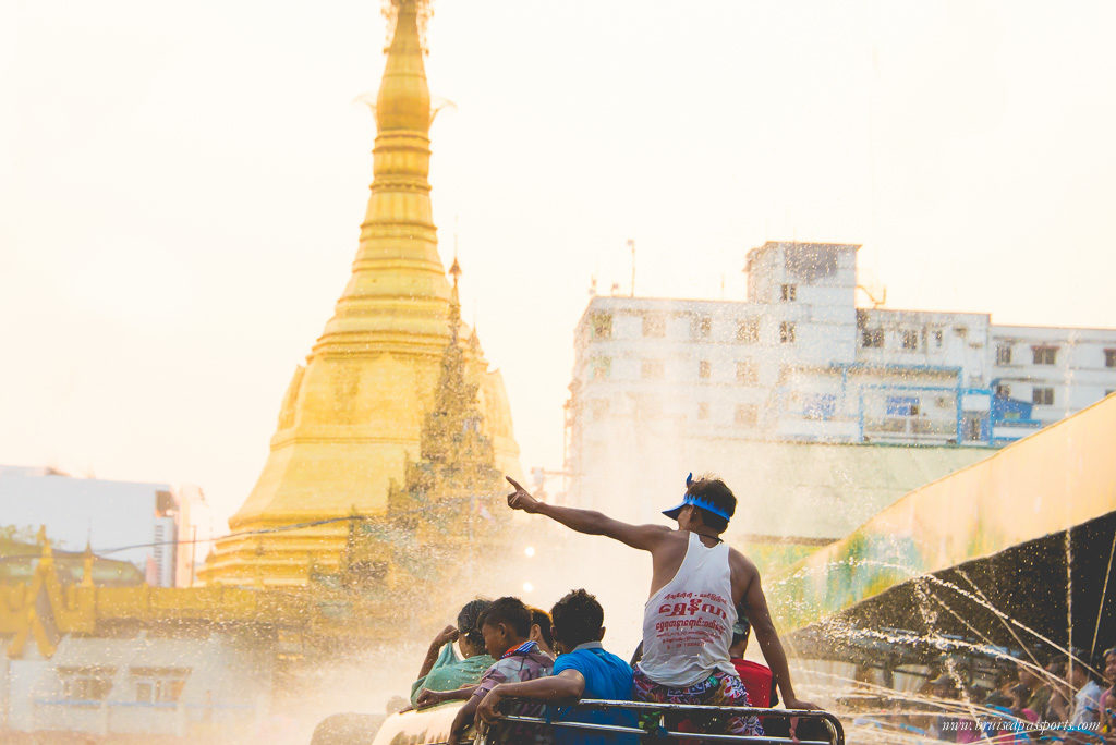 Revelry at the Thingyan Water Festival in Yangon, Myanmar