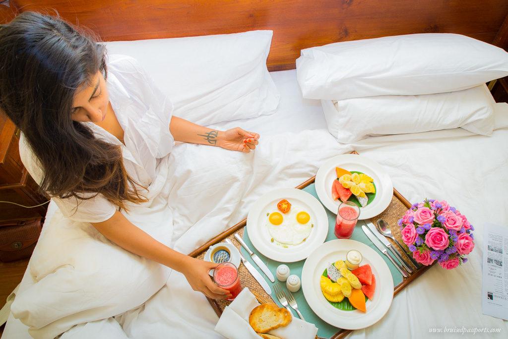 Breakfast in bed Strand Hotel Yangon Myanmar