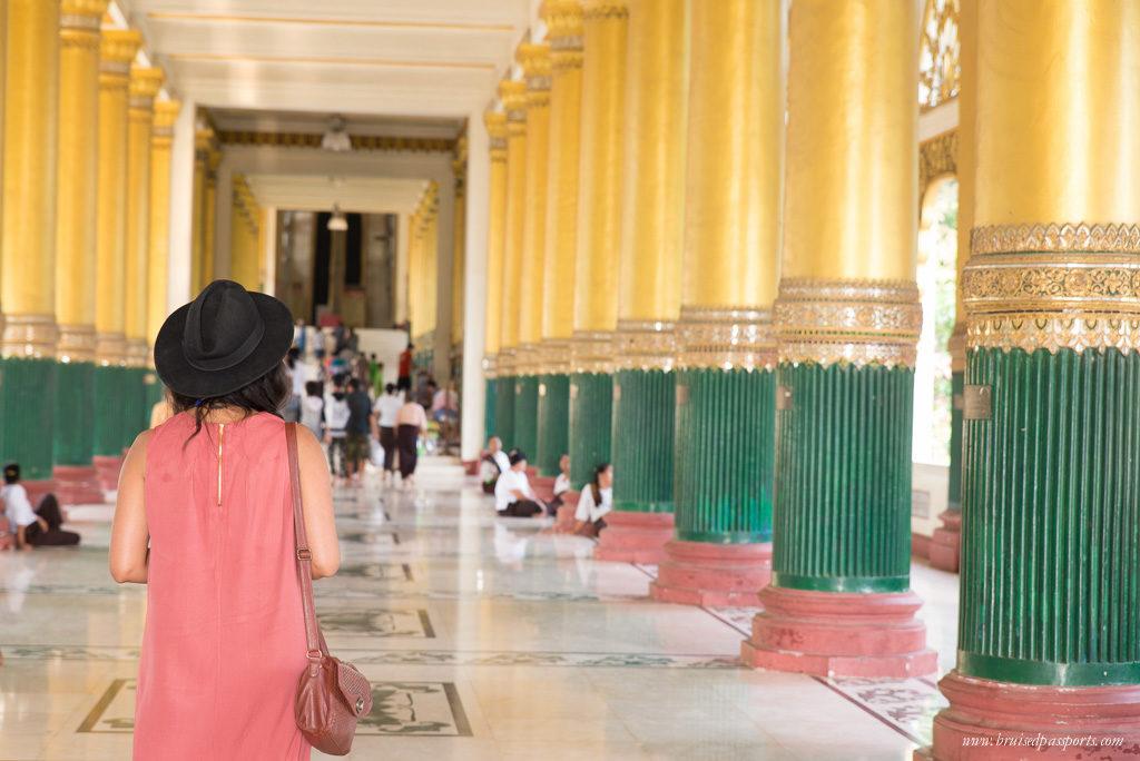 girl in Shwedagon Pagoda complex in Yangon, Myanmar