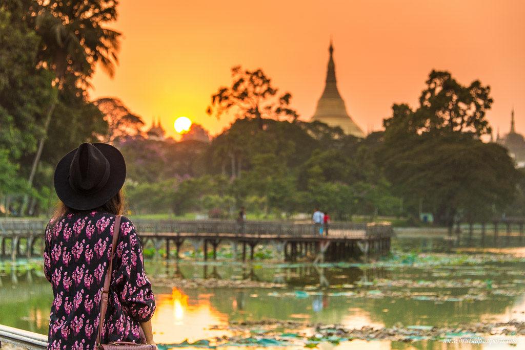 Sunset at Kanowji Lake in Yangon, Myanmar