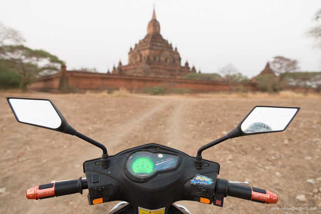 an e scooter to get around Bagan on our trip in Myanmar