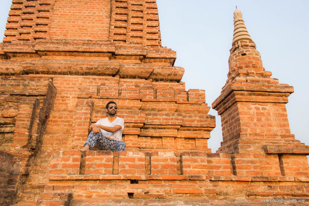 Exploring temples in Bagan on our trip to Myanmar