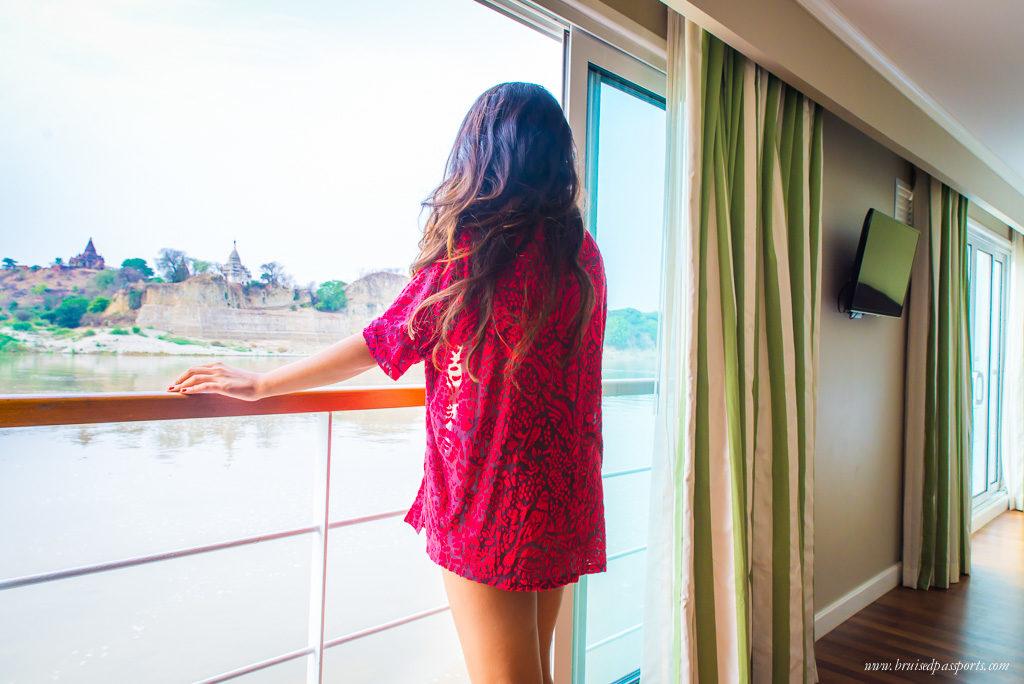 Girl in river cruise in Myanmar