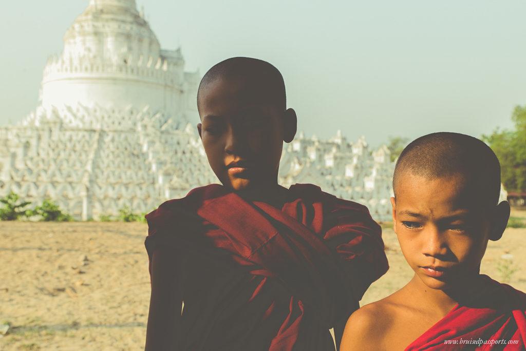 monks in Mingun planning a trip to Myanmar