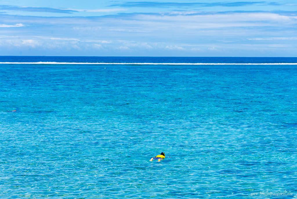 snorkelling at the beach at Outrigger Fiji
