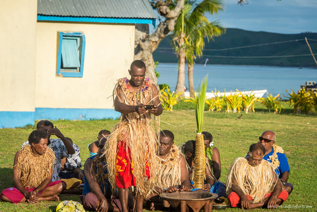 Witnessing a traditional Fijian Kava ceremony on Captain cook cruises fiji