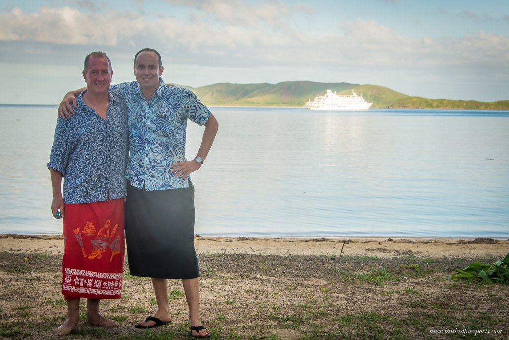 The ship's Captain Simon in a sarong, the national dress of Fiji - we love the laid-back rhythm of life in Fiji