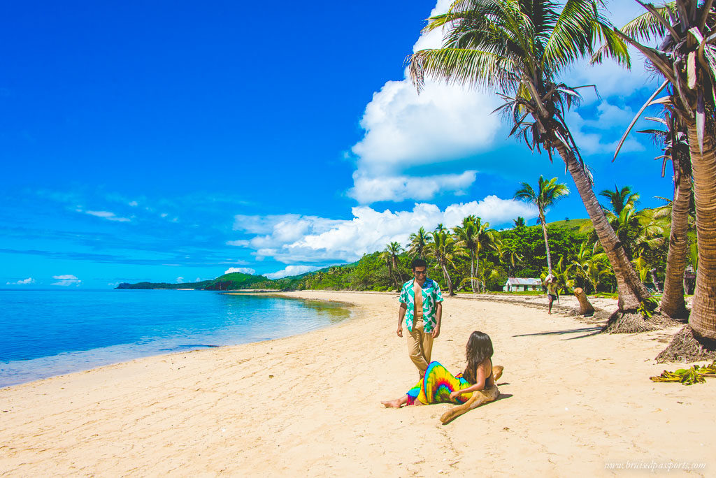 Couple on secluded beach in Fiji