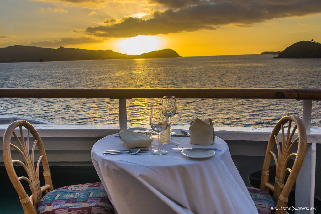 A romantic dinner overlooking one of Fiji's legendary sunsets on board Captain Cook Cruises