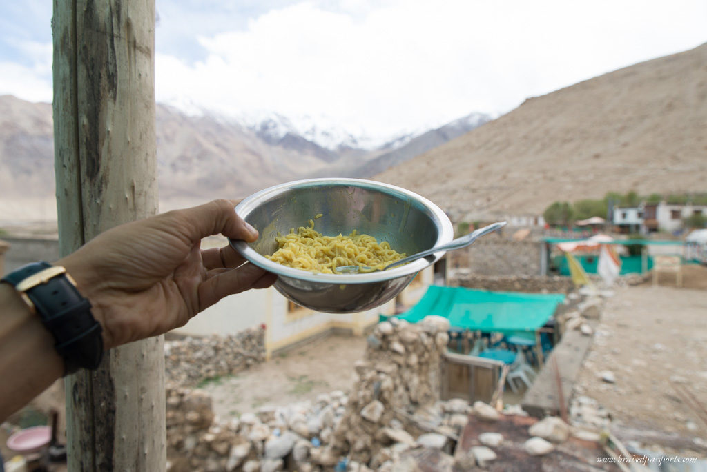 Eating Maggi Noodles in Ladakh