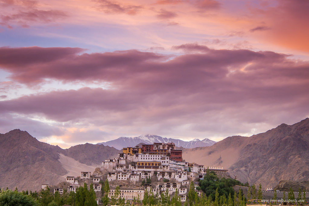 Thiksey Monastery at sunset on road trip in Ladakh