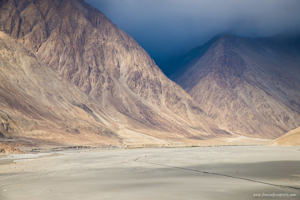 road in Nubra Valley while driving in Ladakh