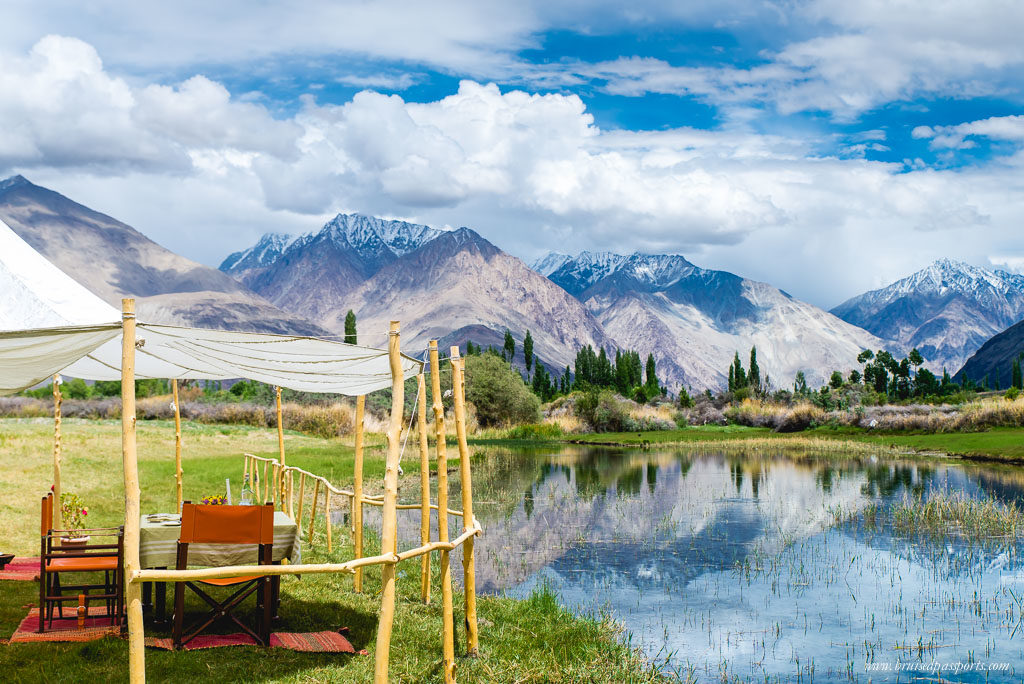 Luxury scenic camping lunch in Ladakh at Chamba Camp Diksit