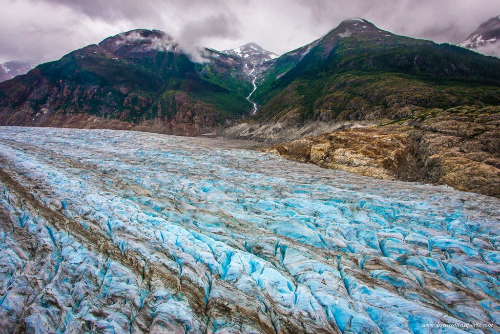 View from a helicopter ride over a glacier in Alaska